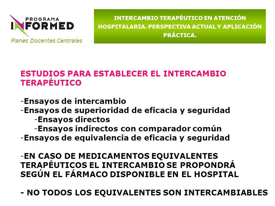 Planes Docentes Centrales INTERCAMBIO TERAPÉUTICO EN ATENCIÓN HOSPITALARIA. PERSPECTIVA ACTUAL Y APLICACIÓN PRÁCTICA. ESTUDIOS PARA ESTABLECER EL INTE