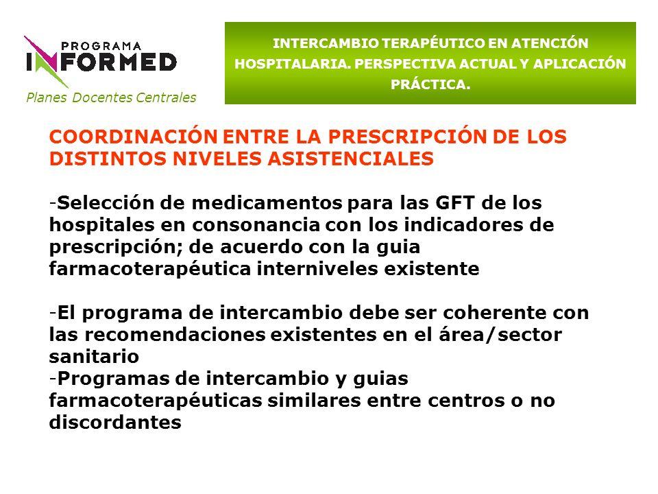 Planes Docentes Centrales INTERCAMBIO TERAPÉUTICO EN ATENCIÓN HOSPITALARIA. PERSPECTIVA ACTUAL Y APLICACIÓN PRÁCTICA. COORDINACIÓN ENTRE LA PRESCRIPCI