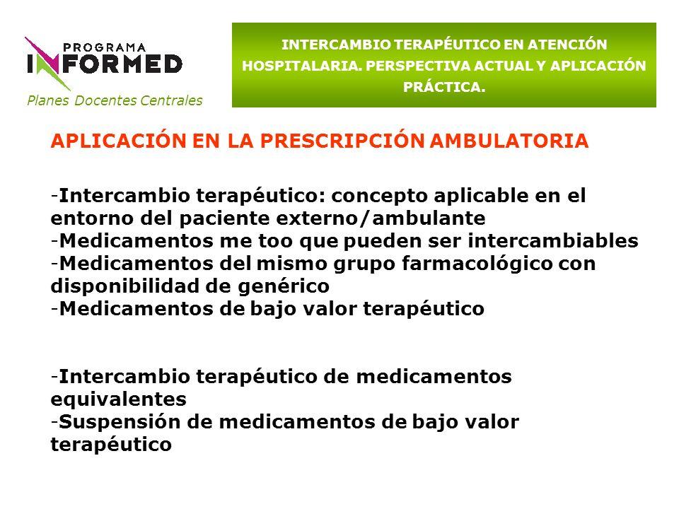 Planes Docentes Centrales INTERCAMBIO TERAPÉUTICO EN ATENCIÓN HOSPITALARIA. PERSPECTIVA ACTUAL Y APLICACIÓN PRÁCTICA. APLICACIÓN EN LA PRESCRIPCIÓN AM