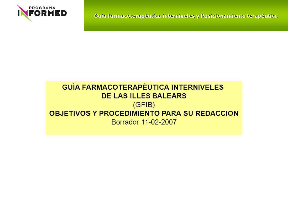 Guia farmacoterapéutica interniveles y Posicionamiento terapéutico GUÍA FARMACOTERAPÉUTICA INTERNIVELES DE LAS ILLES BALEARS (GFIB) OBJETIVOS Y PROCED