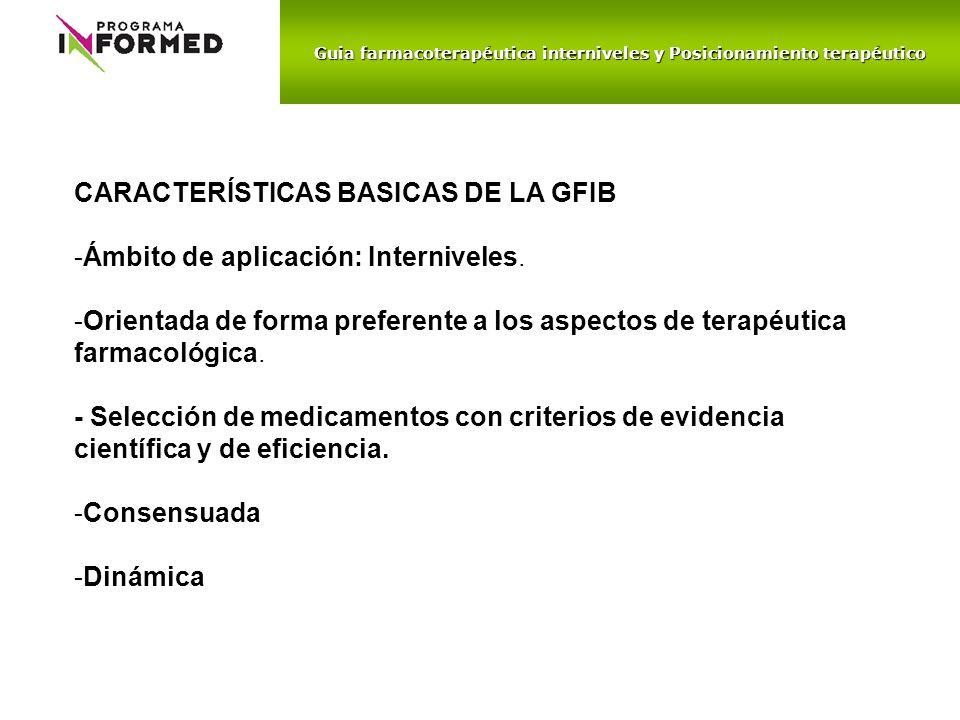 Guia farmacoterapéutica interniveles y Posicionamiento terapéutico CARACTERÍSTICAS BASICAS DE LA GFIB -Ámbito de aplicación: Interniveles. -Orientada