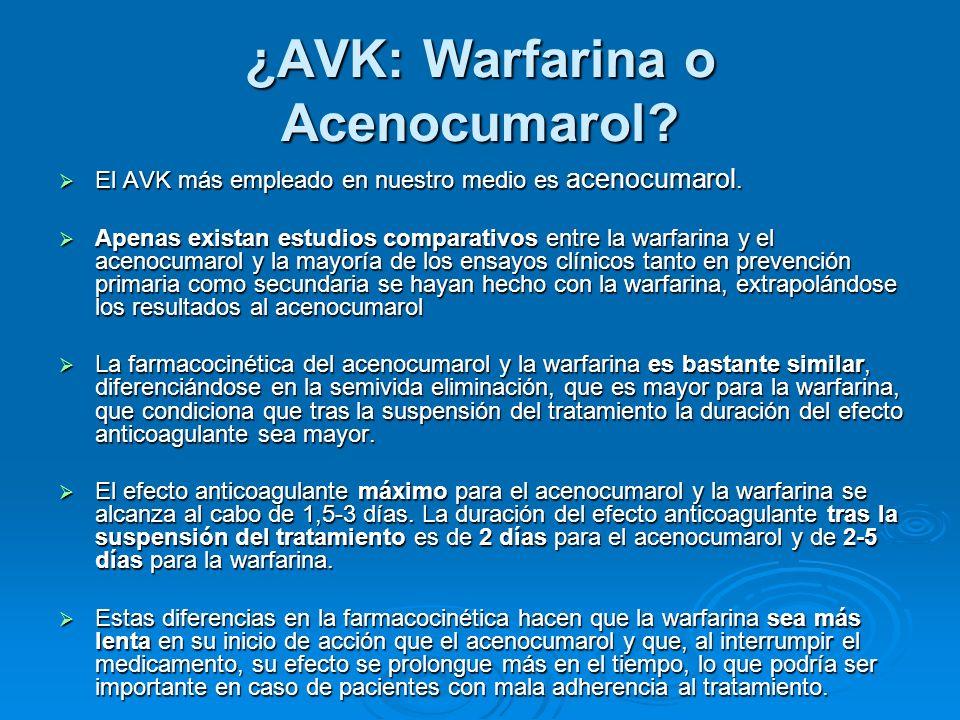 ¿AVK: Warfarina o Acenocumarol? El AVK más empleado en nuestro medio es acenocumarol. El AVK más empleado en nuestro medio es acenocumarol. Apenas exi