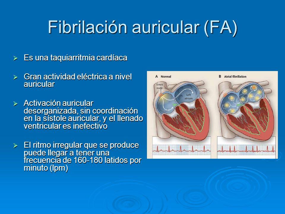 Fibrilación auricular (FA) Es una taquiarritmia cardíaca Es una taquiarritmia cardíaca Gran actividad eléctrica a nivel auricular Gran actividad eléct
