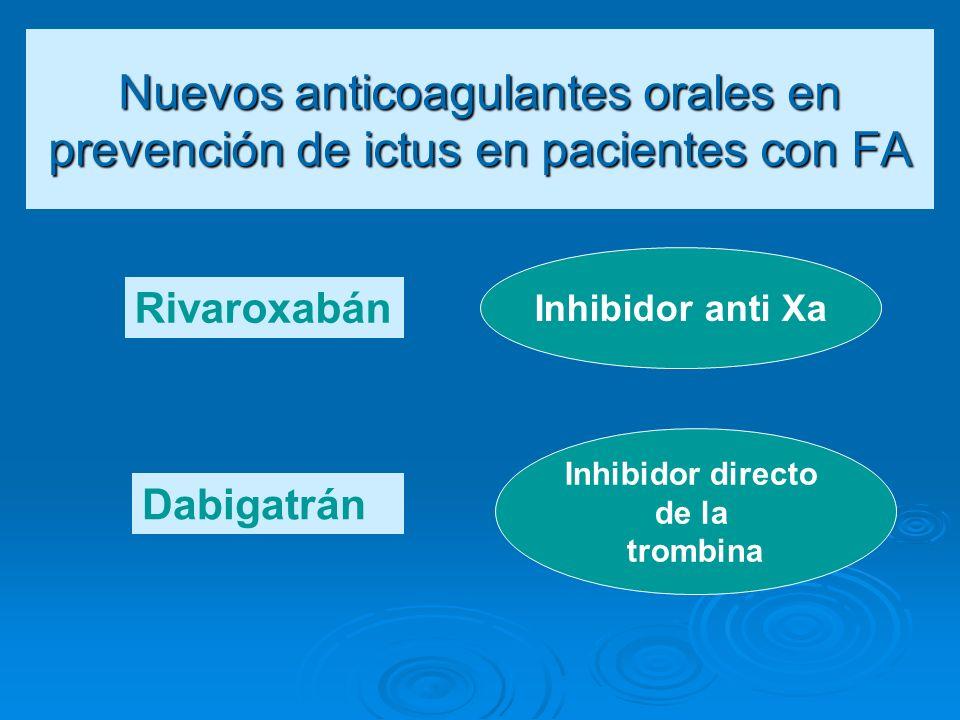 Nuevos anticoagulantes orales en prevención de ictus en pacientes con FA Rivaroxabán Dabigatrán Inhibidor anti Xa Inhibidor directo de la trombina