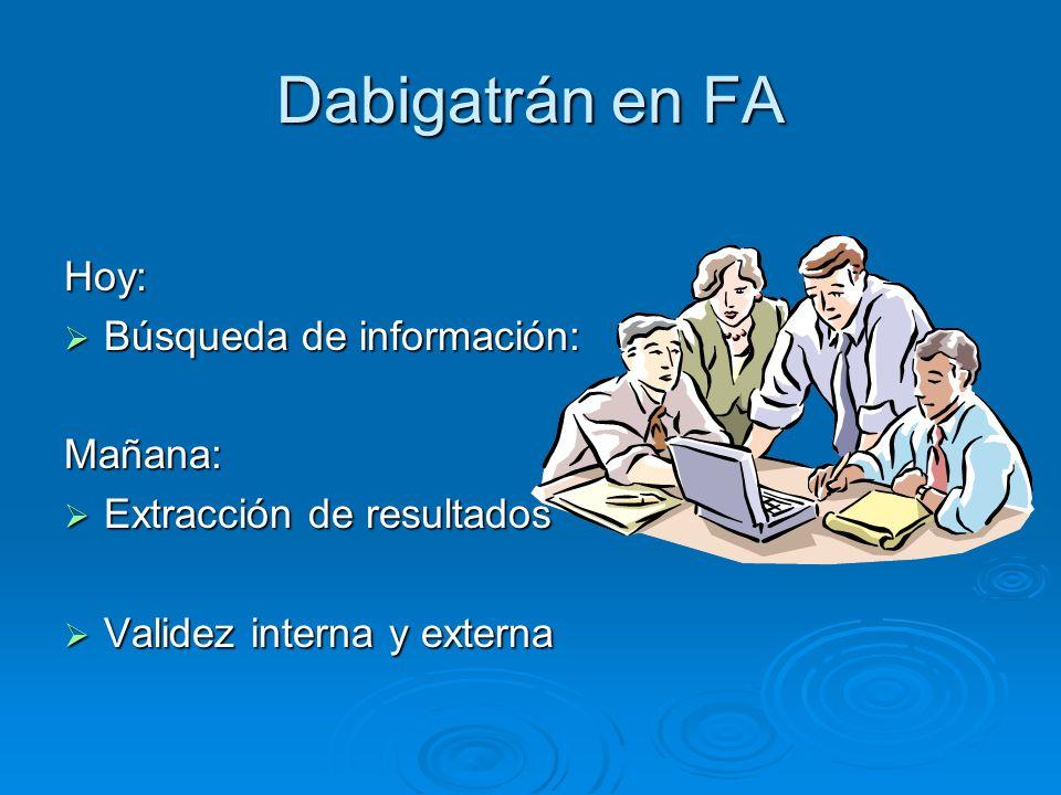 Dabigatrán en FA Hoy: Búsqueda de información: Búsqueda de información:Mañana: Extracción de resultados Extracción de resultados Validez interna y ext