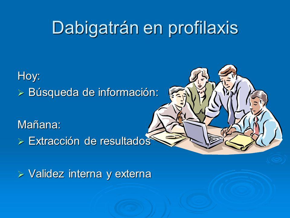 Dabigatrán en profilaxis Hoy: Búsqueda de información: Búsqueda de información:Mañana: Extracción de resultados Extracción de resultados Validez inter