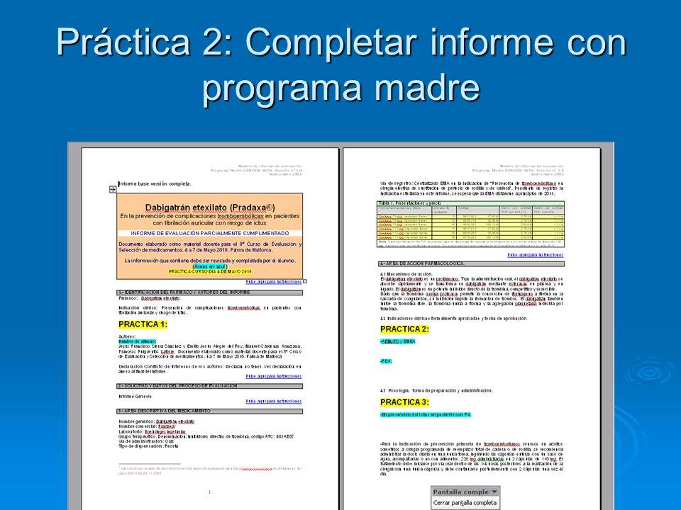 Práctica 2: Completar informe con programa madre