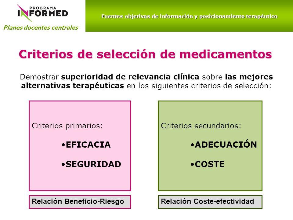 Fuentes objetivas de información y posicionamiento terapéutico Planes docentes centrales Criterios de selección de medicamentos Criterios secundarios: