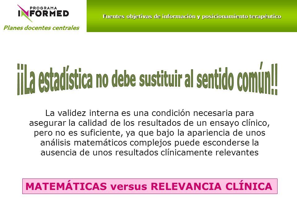 Fuentes objetivas de información y posicionamiento terapéutico Planes docentes centrales La validez interna es una condición necesaria para asegurar l
