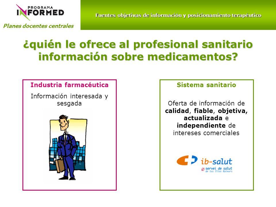 Fuentes objetivas de información y posicionamiento terapéutico Planes docentes centrales ¿quién le ofrece al profesional sanitario información sobre m