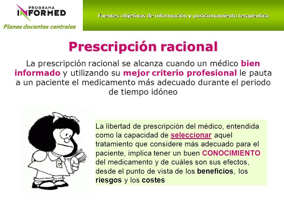 Fuentes objetivas de información y posicionamiento terapéutico Planes docentes centrales información escrita sobre nuevos medicamentos
