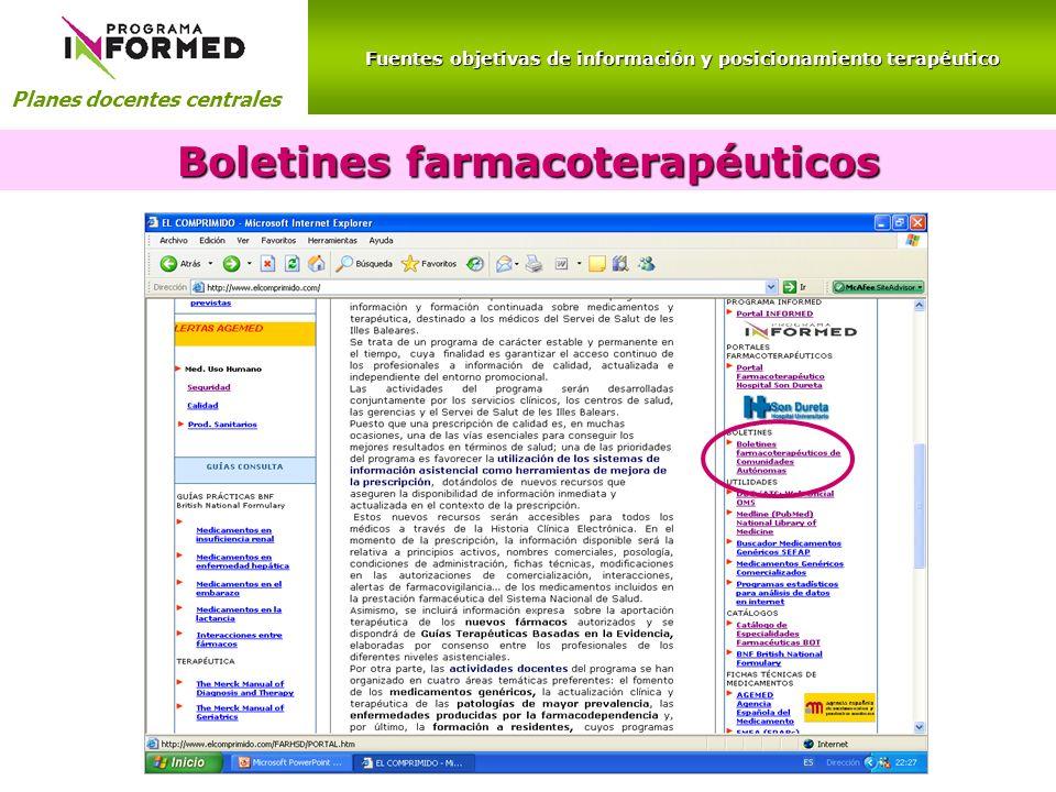 Fuentes objetivas de información y posicionamiento terapéutico Planes docentes centrales Boletines farmacoterapéuticos