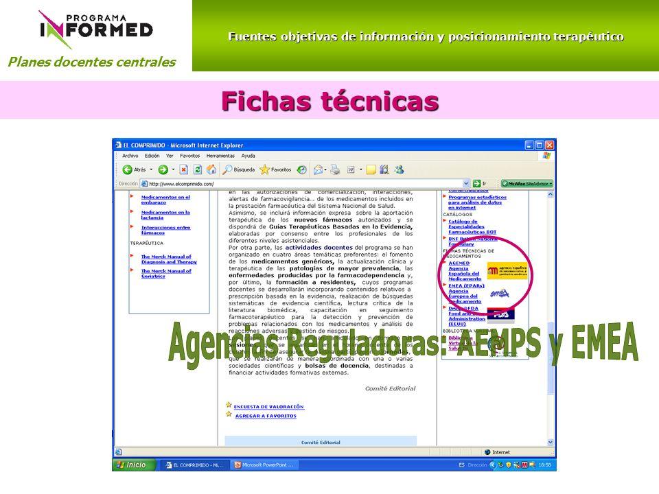 Fuentes objetivas de información y posicionamiento terapéutico Planes docentes centrales Fichas técnicas