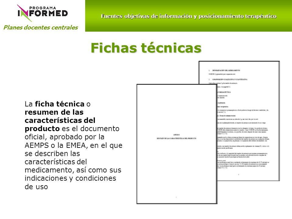 Fuentes objetivas de información y posicionamiento terapéutico Planes docentes centrales Fichas técnicas La ficha técnica o resumen de las característ