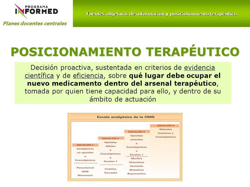Fuentes objetivas de información y posicionamiento terapéutico Planes docentes centrales POSICIONAMIENTO TERAPÉUTICO Decisión proactiva, sustentada en