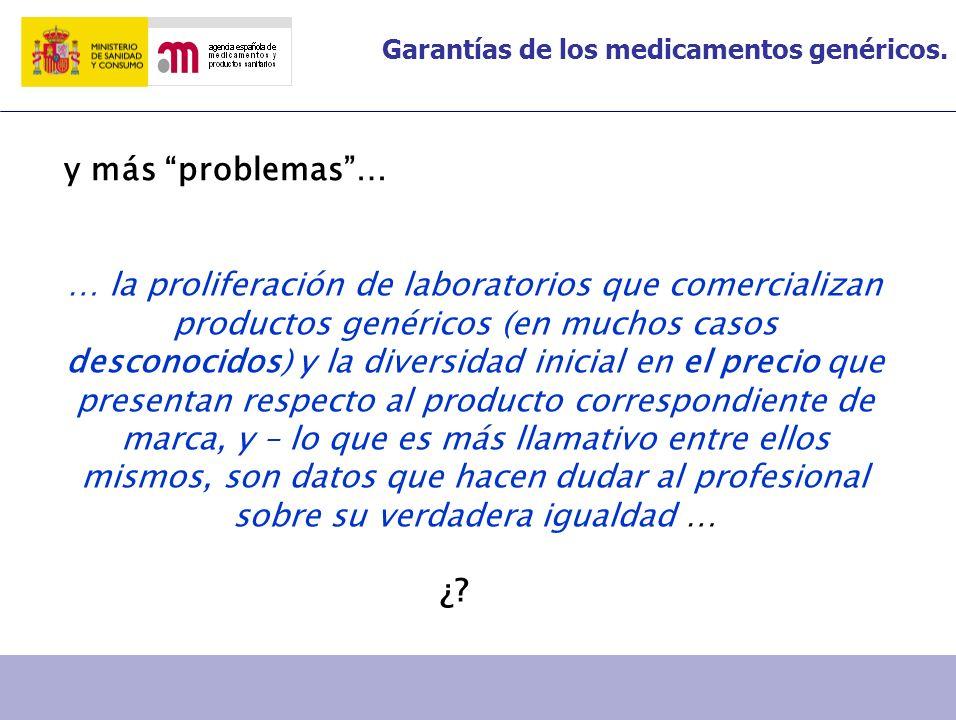 Garantías de los medicamentos genéricos. … la proliferación de laboratorios que comercializan productos genéricos (en muchos casos desconocidos) y la
