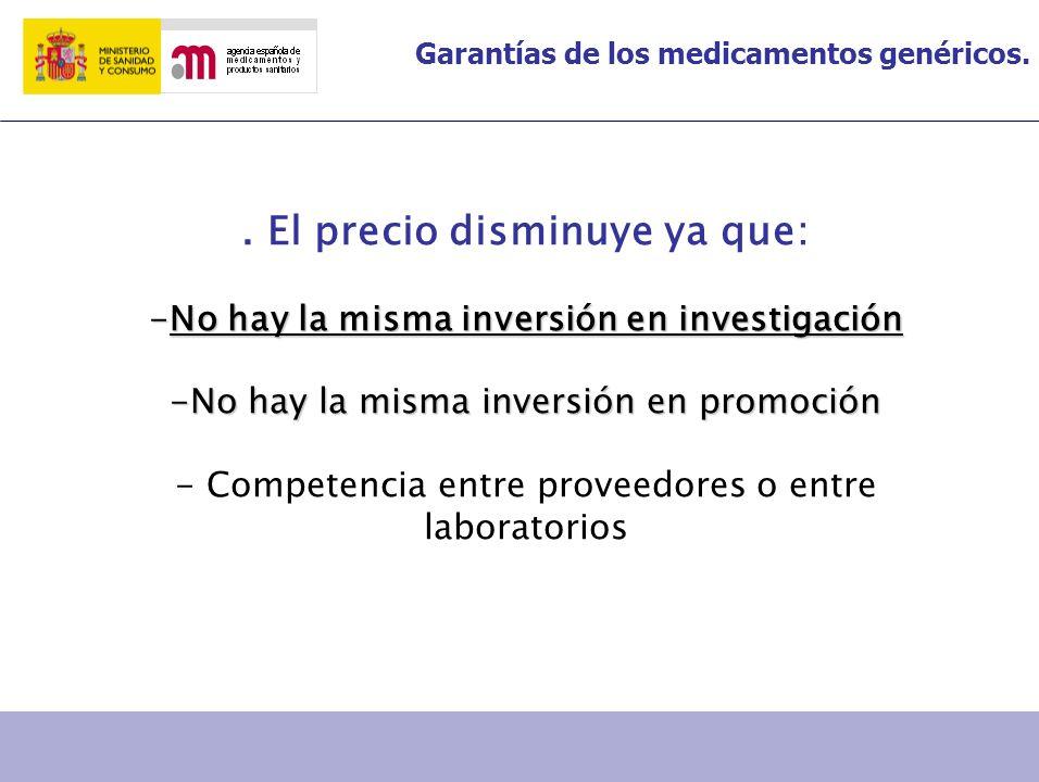 Garantías de los medicamentos genéricos.. El precio disminuye ya que: -No hay la misma inversión en investigación -No hay la misma inversión en promoc