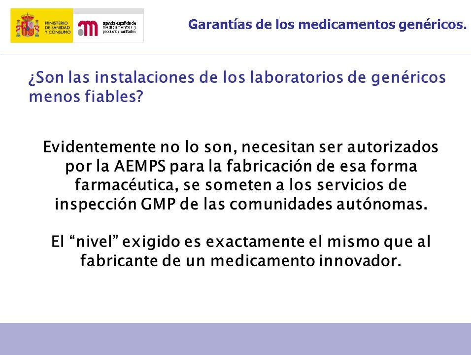 Garantías de los medicamentos genéricos. ¿Son las instalaciones de los laboratorios de genéricos menos fiables? Evidentemente no lo son, necesitan ser