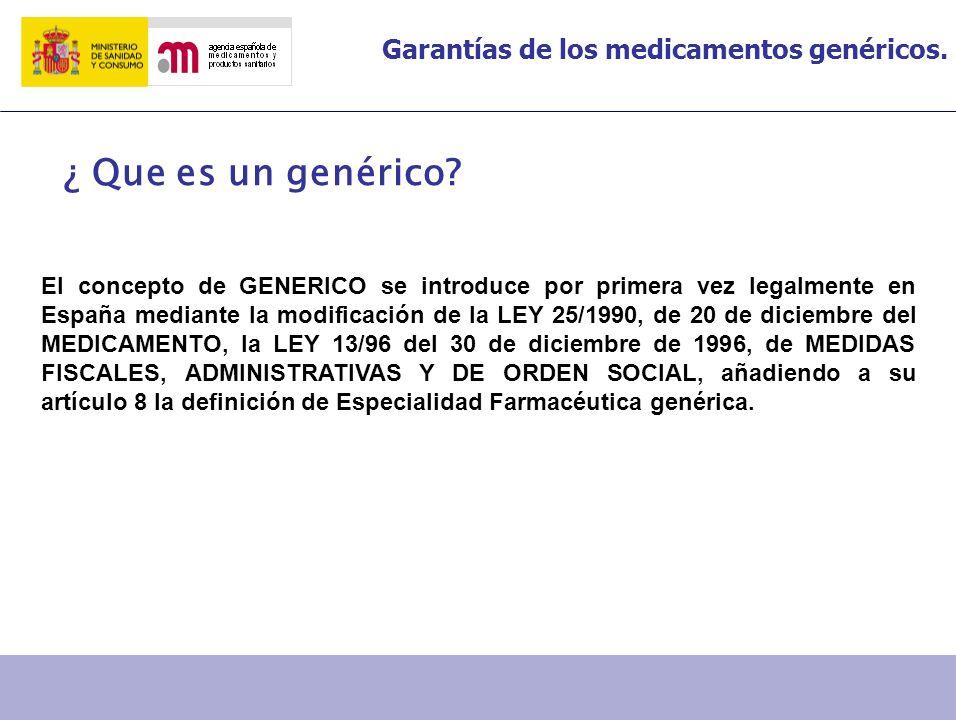 Garantías de los medicamentos genéricos. ¿ Que es un genérico? El concepto de GENERICO se introduce por primera vez legalmente en España mediante la m