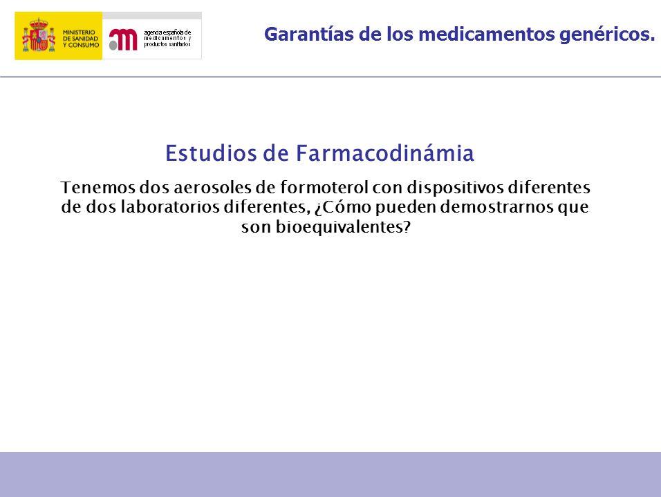 Garantías de los medicamentos genéricos. Estudios de Farmacodinámia Tenemos dos aerosoles de formoterol con dispositivos diferentes de dos laboratorio