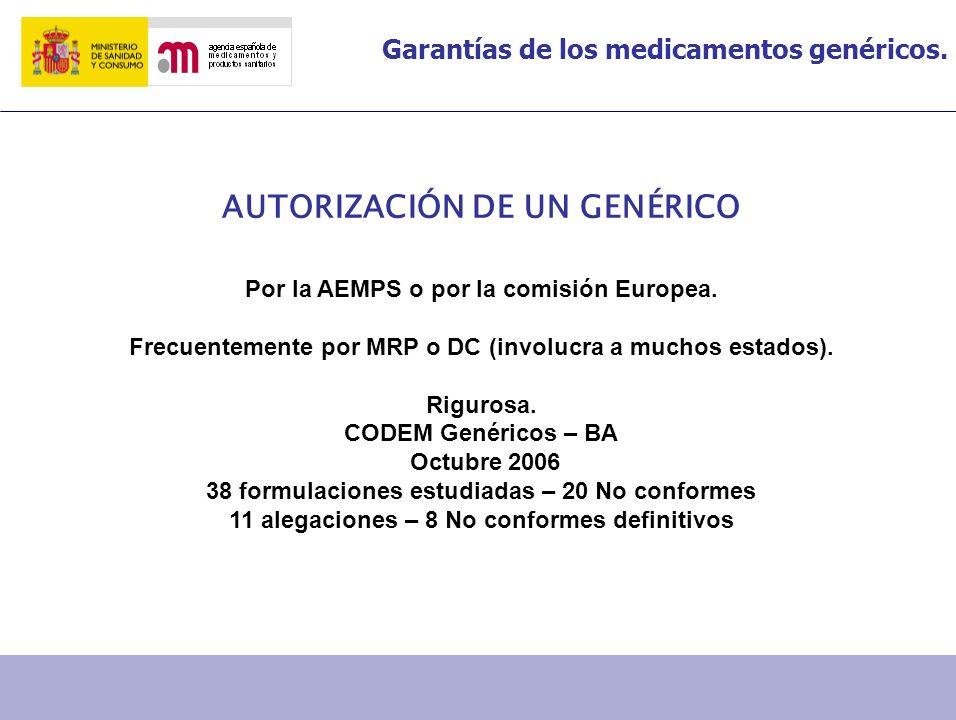 Garantías de los medicamentos genéricos. AUTORIZACIÓN DE UN GENÉRICO Por la AEMPS o por la comisión Europea. Frecuentemente por MRP o DC (involucra a