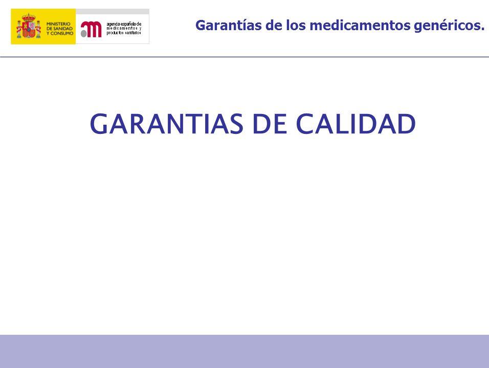 Garantías de los medicamentos genéricos. GARANTIAS DE SEGURIDAD Y EFICACIA