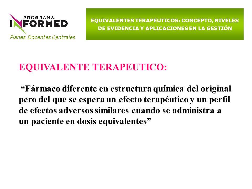 Planes Docentes Centrales EQUIVALENTES TERAPEUTICOS: CONCEPTO, NIVELES DE EVIDENCIA Y APLICACIONES EN LA GESTIÓN EQUIVALENTE TERAPEUTICO: Fármaco dife