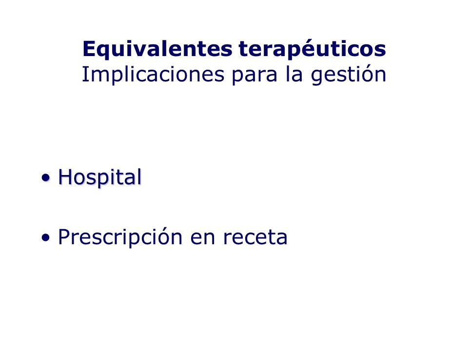 Equivalentes terapéuticos Implicaciones para la gestión HospitalHospital Prescripción en receta