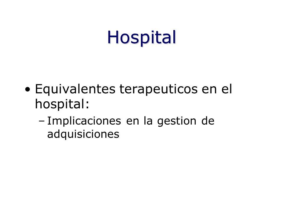 Hospital Equivalentes terapeuticos en el hospital: –Implicaciones en la gestion de adquisiciones
