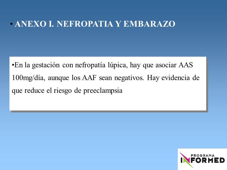 En la gestación con nefropatía lúpica, hay que asociar AAS 100mg/día, aunque los AAF sean negativos. Hay evidencia de que reduce el riesgo de preeclam