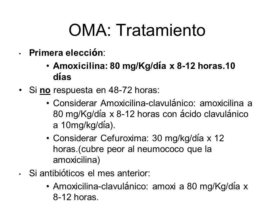 OMA: Tratamiento Primera elecci ó n: Amoxicilina: 80 mg/Kg/d í a x 8-12 horas.10 d í as Si no respuesta en 48-72 horas: Considerar Amoxicilina-clavul