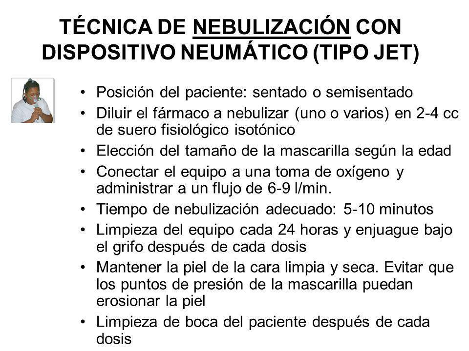 TÉCNICA DE NEBULIZACIÓN CON DISPOSITIVO NEUMÁTICO (TIPO JET) Posición del paciente: sentado o semisentado Diluir el fármaco a nebulizar (uno o varios)