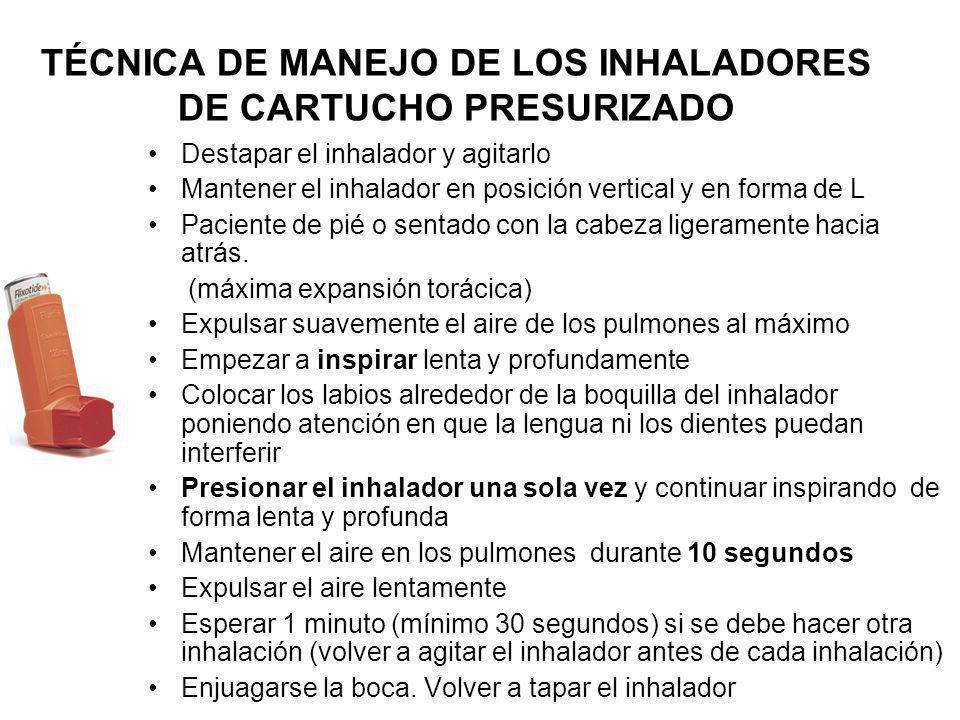 TÉCNICA DE MANEJO DE LOS INHALADORES DE CARTUCHO PRESURIZADO Destapar el inhalador y agitarlo Mantener el inhalador en posición vertical y en forma de