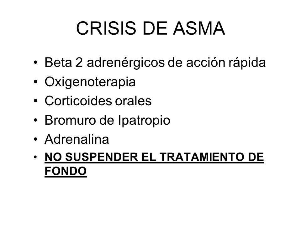 CRISIS DE ASMA Beta 2 adrenérgicos de acción rápida Oxigenoterapia Corticoides orales Bromuro de Ipatropio Adrenalina NO SUSPENDER EL TRATAMIENTO DE F