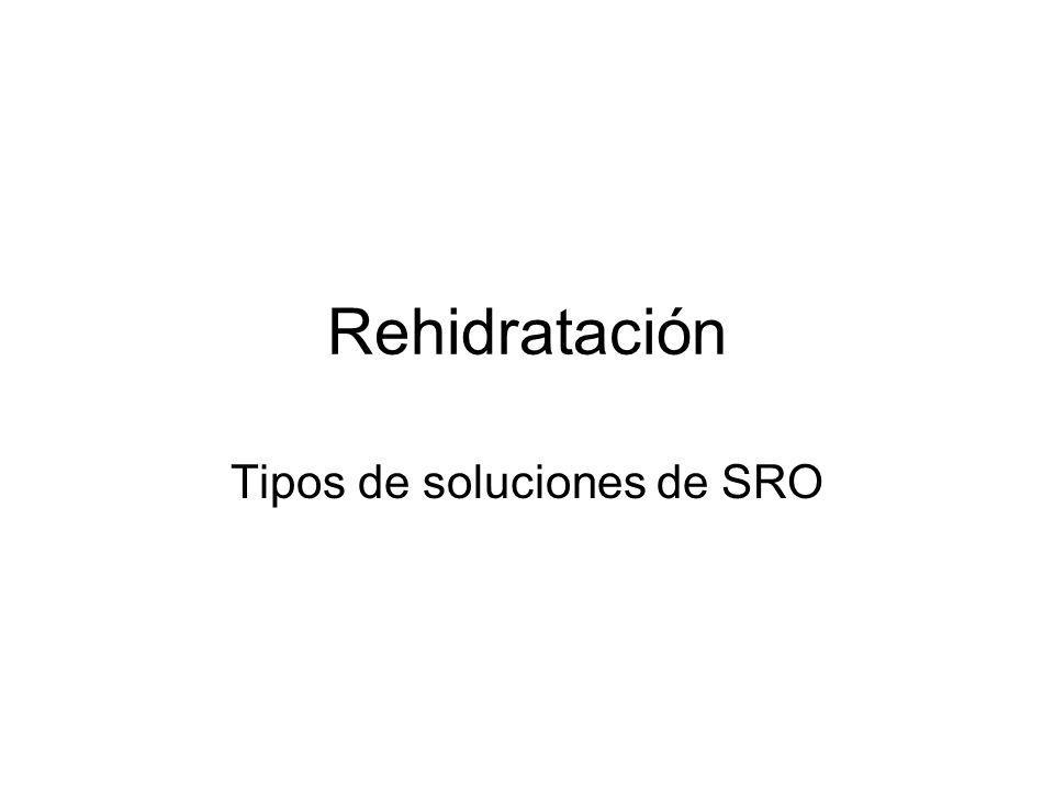 Rehidratación Tipos de soluciones de SRO