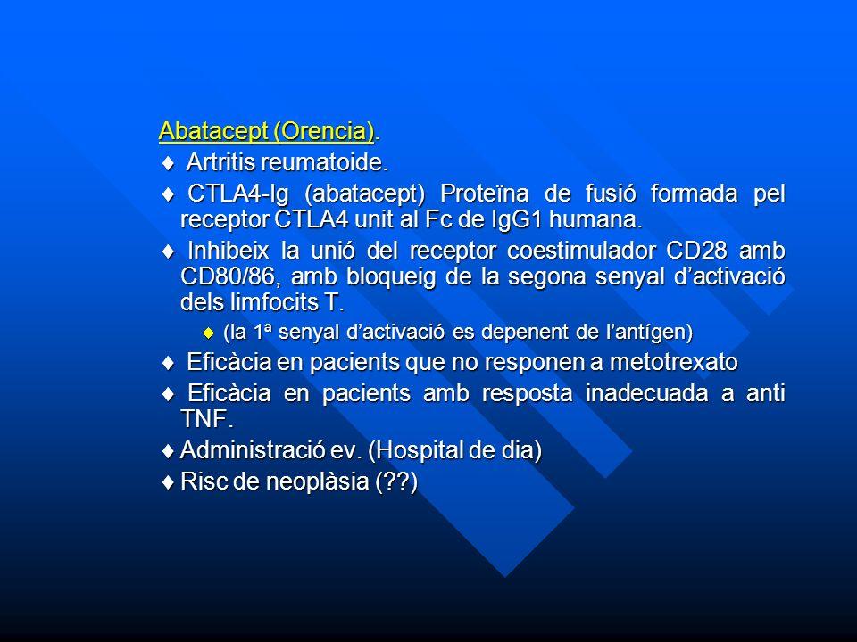 Abatacept (Orencia).Artritis reumatoide. Artritis reumatoide.