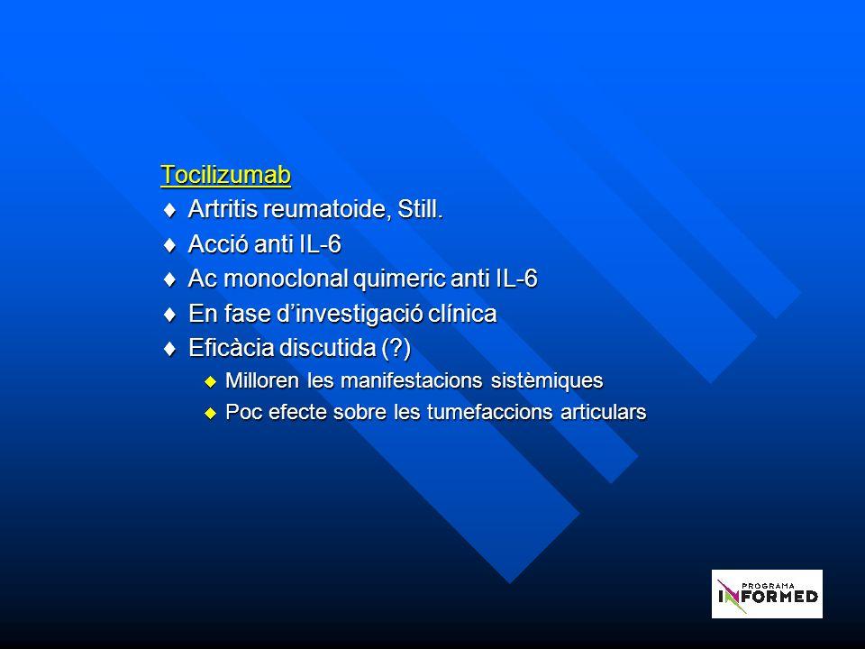 Tocilizumab Artritis reumatoide, Still.Artritis reumatoide, Still.
