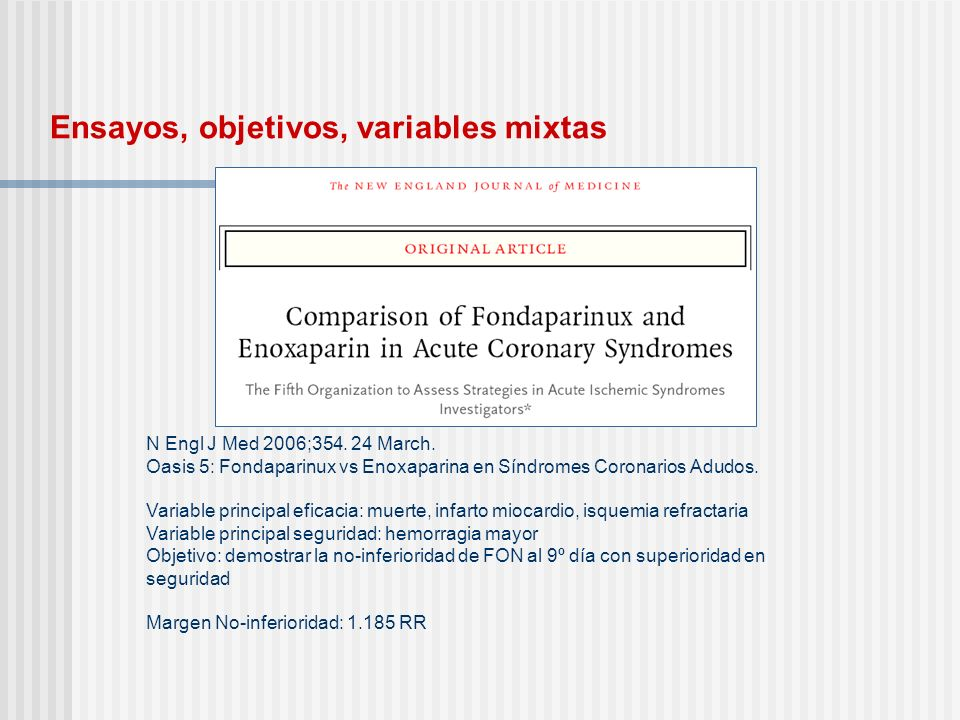 Ensayos, objetivos, variables mixtas N Engl J Med 2006;354. 24 March. Oasis 5: Fondaparinux vs Enoxaparina en Síndromes Coronarios Adudos. Variable pr