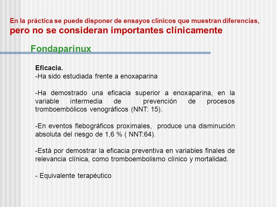 En la práctica se puede disponer de ensayos clínicos que muestran diferencias, pero no se consideran importantes clínicamente Fondaparinux Eficacia. -