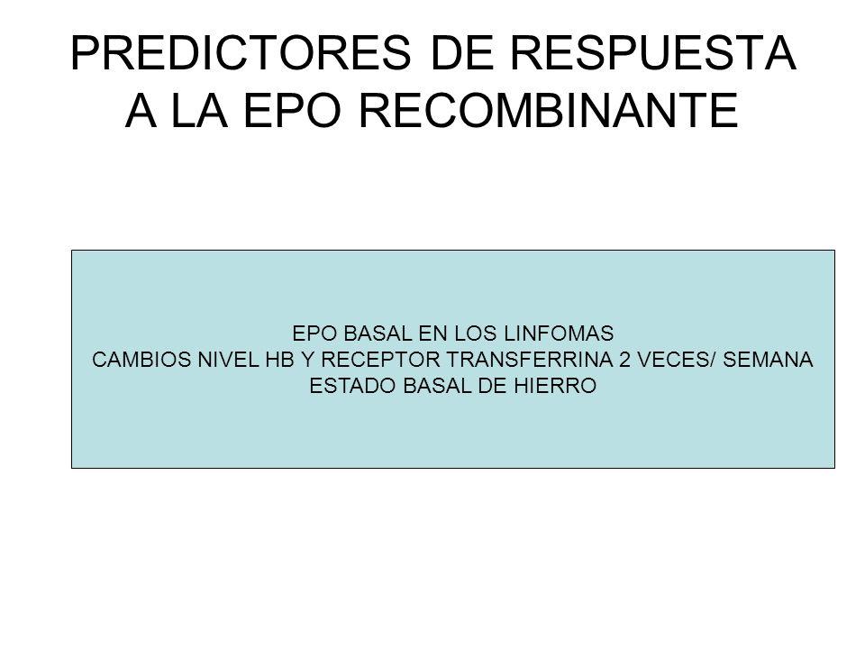 PREDICTORES DE RESPUESTA A LA EPO RECOMBINANTE EPO BASAL EN LOS LINFOMAS CAMBIOS NIVEL HB Y RECEPTOR TRANSFERRINA 2 VECES/ SEMANA ESTADO BASAL DE HIER