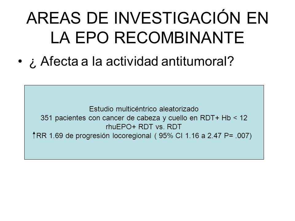 AREAS DE INVESTIGACIÓN EN LA EPO RECOMBINANTE ¿ Afecta a la actividad antitumoral? Estudio multicéntrico aleatorizado 351 pacientes con cancer de cabe