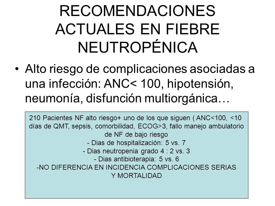 RECOMENDACIONES ACTUALES EN FIEBRE NEUTROPÉNICA Alto riesgo de complicaciones asociadas a una infección: ANC< 100, hipotensión, neumonía, disfunción m