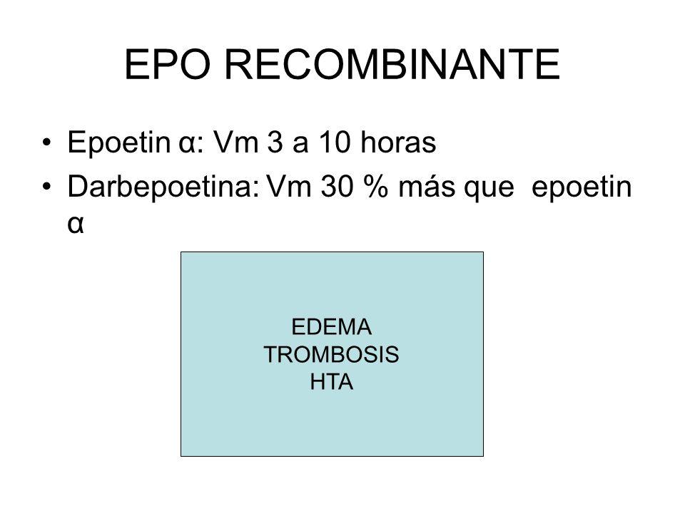 USO CLINICO EPO RECOMBINANTE Causas anemia: - Toxicidad QMT y RDT - Infiltración MO - Hemólisis - Hiperesplenismo - Hemorragia - Baja producción por déficit hierro, EPO - Anemia del cancer