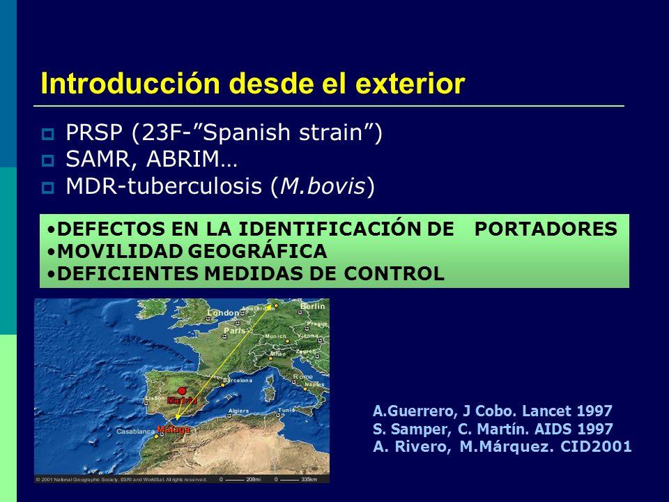 Introducción desde el exterior PRSP (23F-Spanish strain) SAMR, ABRIM… MDR-tuberculosis (M.bovis) DEFECTOS EN LA IDENTIFICACIÓN DE PORTADORES MOVILIDAD