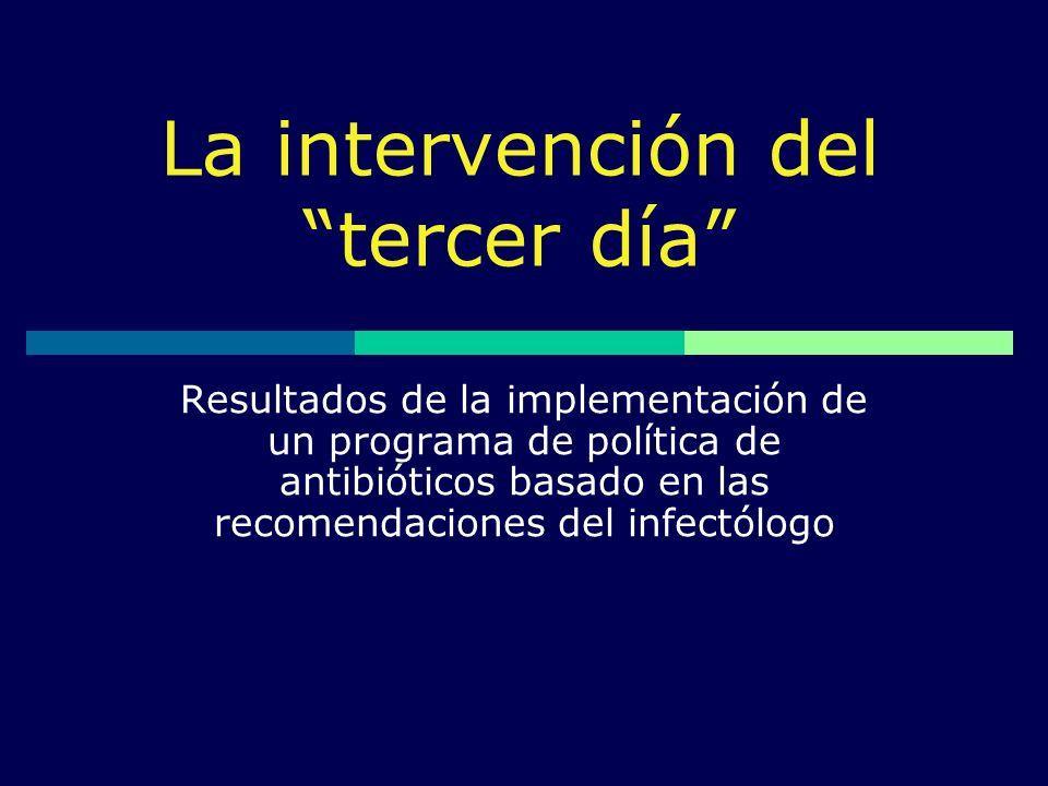 La intervención del tercer día Resultados de la implementación de un programa de política de antibióticos basado en las recomendaciones del infectólog