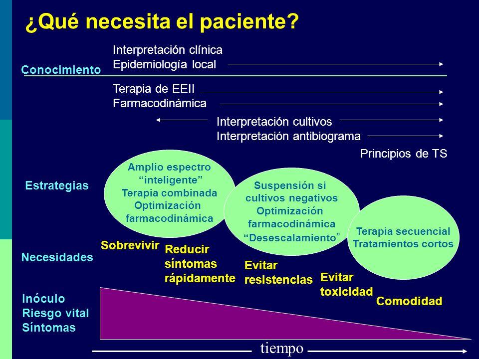 ¿Qué necesita el paciente? tiempo Inóculo Riesgo vital Síntomas Sobrevivir Reducir síntomas rápidamente Evitar resistencias Evitar toxicidad Comodidad