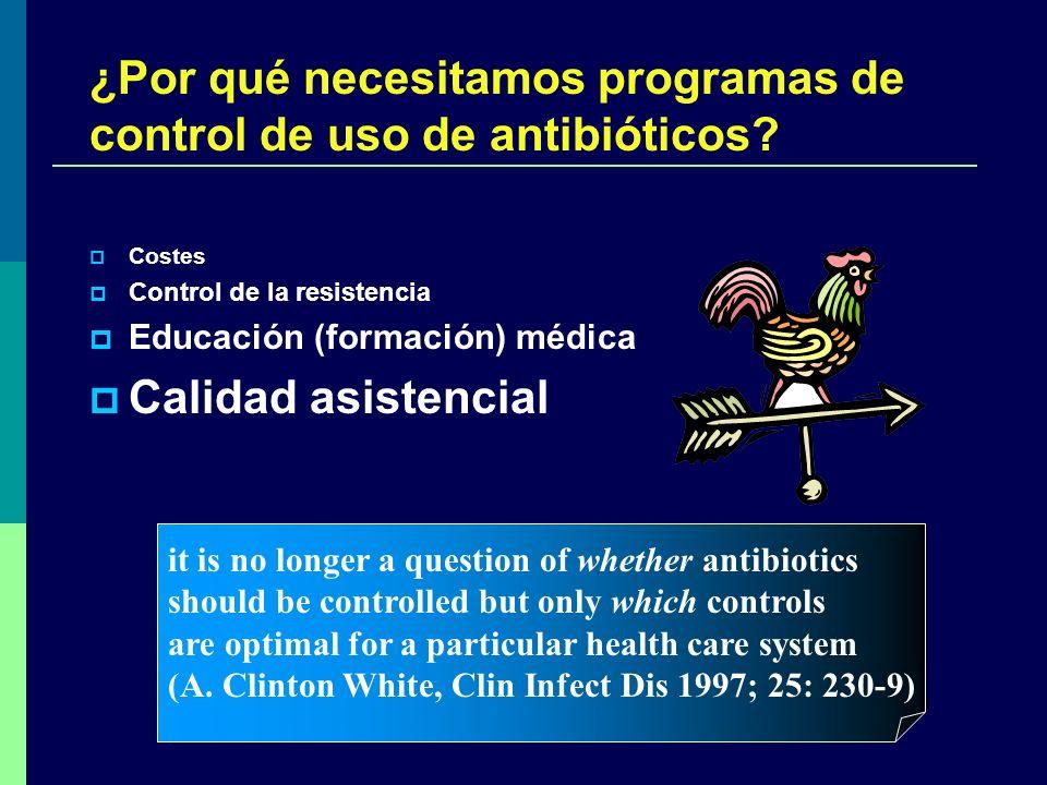 ¿Por qué necesitamos programas de control de uso de antibióticos? Costes Control de la resistencia Educación (formación) médica Calidad asistencial it