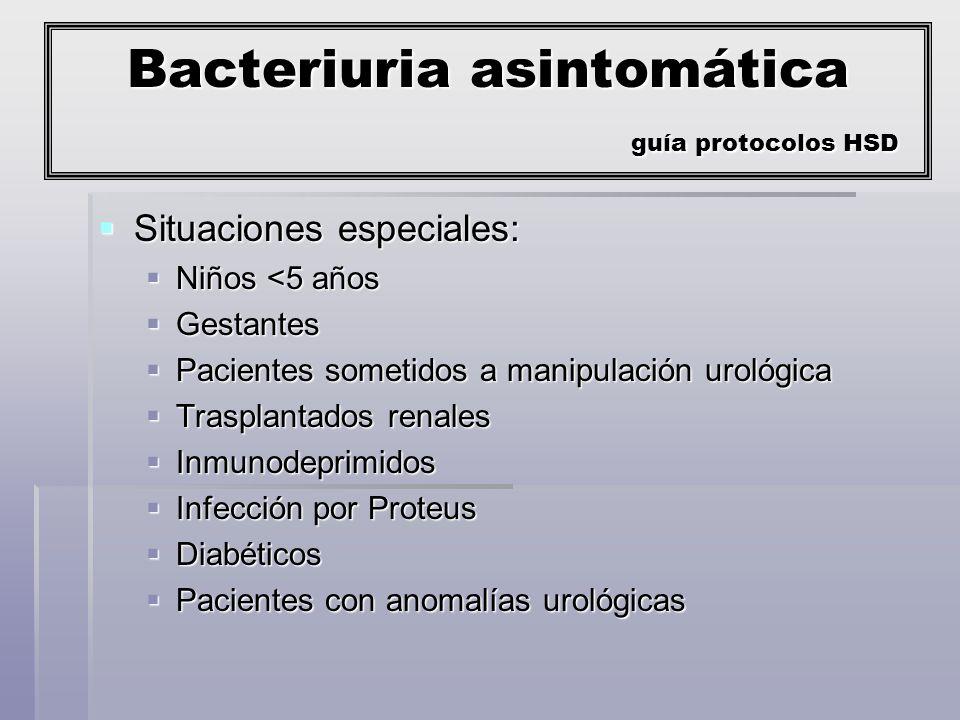 Cistitis guía protocolos HSD Varón Gestante <5 años Anomalías urológicas Insuficiencia renal Inmunodeprimido Infecciones de repetición