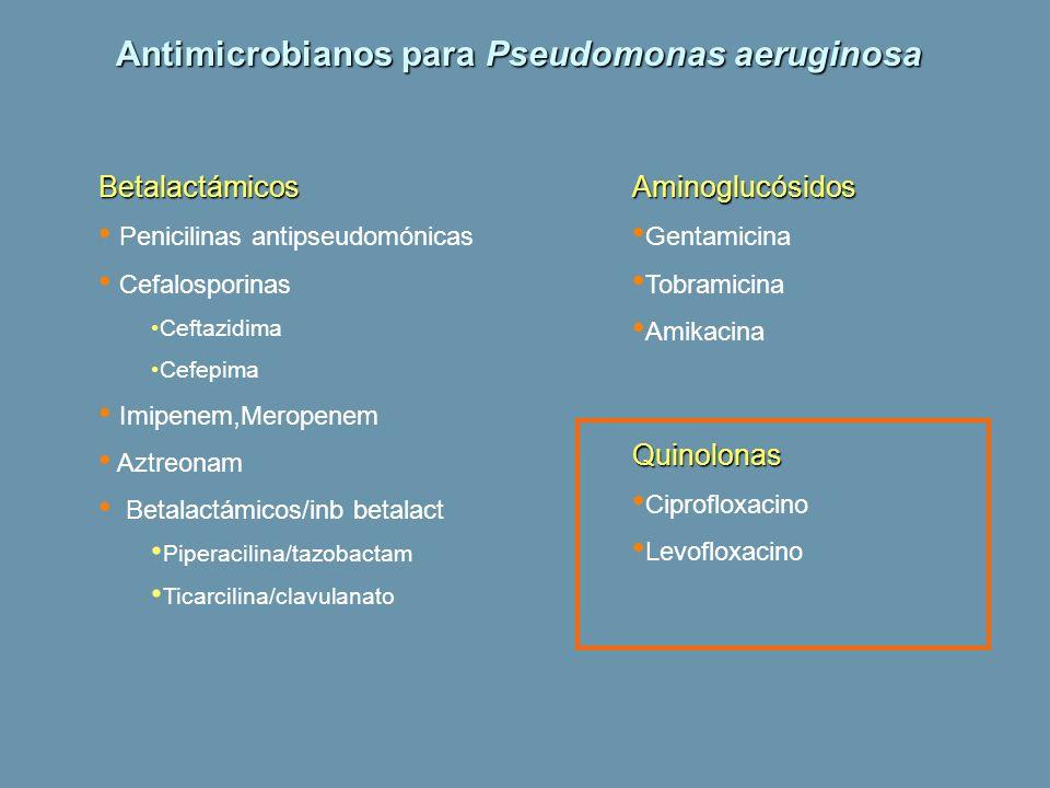 Antimicrobianos para Pseudomonas aeruginosa Betalactámicos Penicilinas antipseudomónicas Cefalosporinas Ceftazidima Cefepima Imipenem,Meropenem Aztreo
