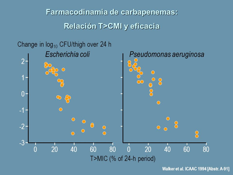 Change in log 10 CFU/thigh over 24 h -3 -2 2 0 1 Escherichia coliPseudomonas aeruginosa 080 T>MIC (% of 24-h period) 604020080604020 Walker et al. ICA